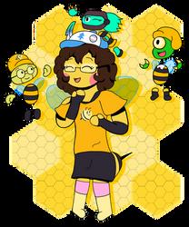It looks like a cute bee is celebrating something