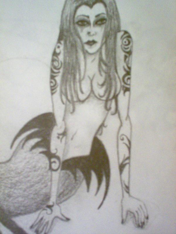 Tattooed Mermaid Detail by LadyRavenhawk