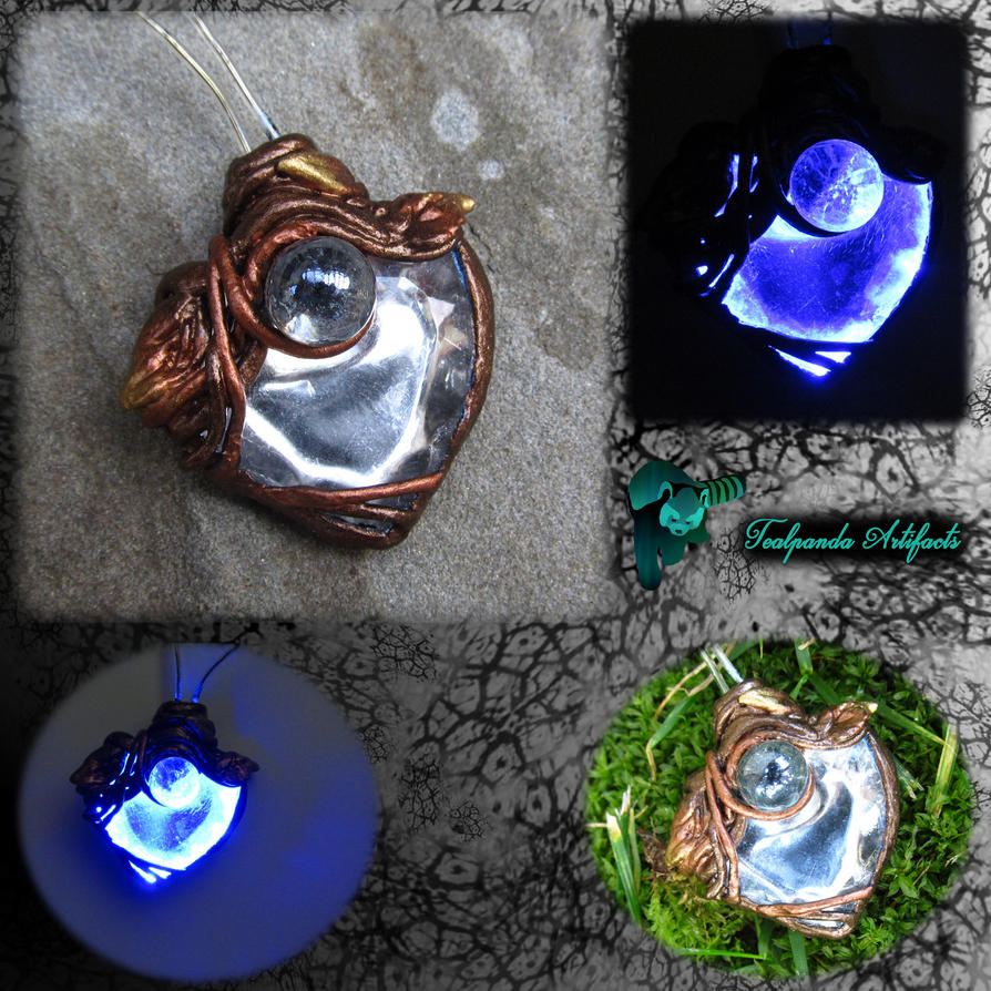 metallic garden glow necklace by tealpandaartifacts