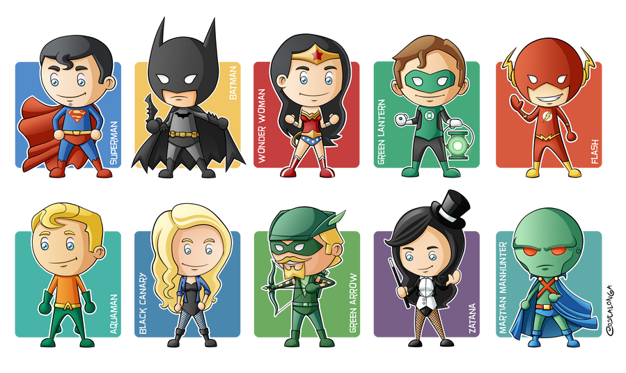 Cartoon Characters Justice League : Justice league minigeeks by costalonga on deviantart