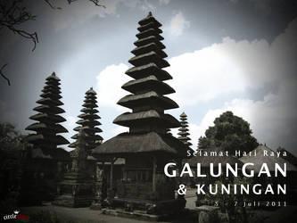 Galungan card and Taman Ayun Temple by circleshine