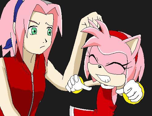 Sakura meets Amy Rose by xShadowcat7 on DeviantArtSonic And Amy Wedding Naruto