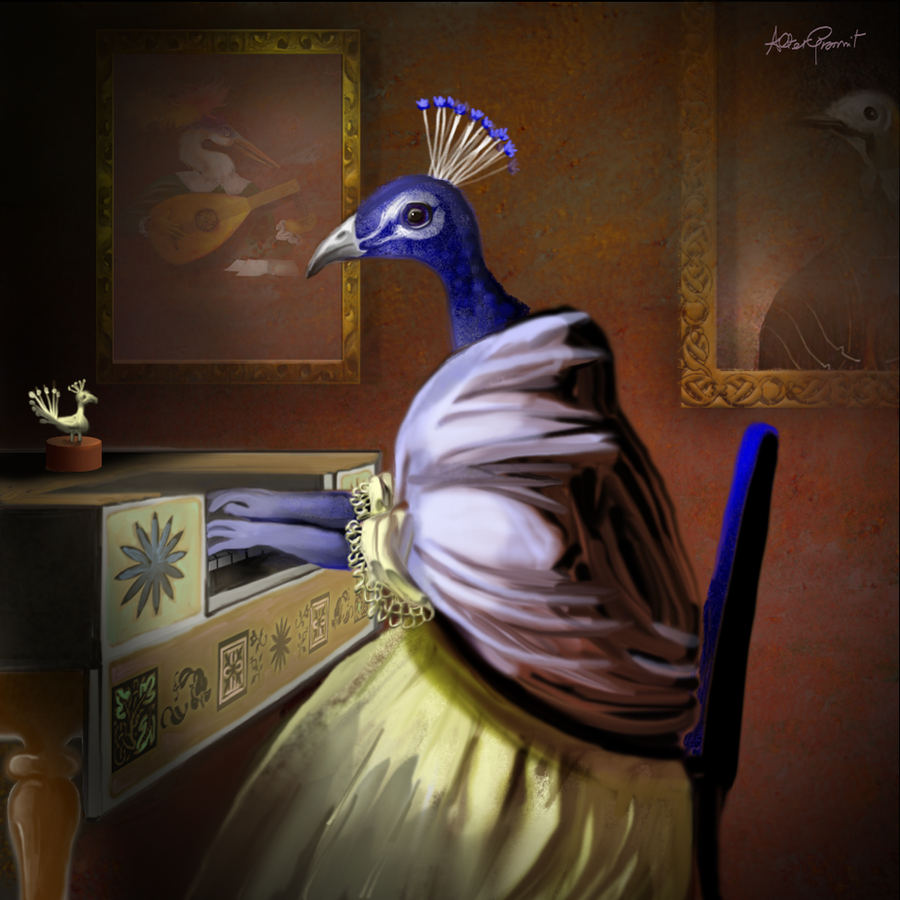Peahen with Flemish spinet by altergromit