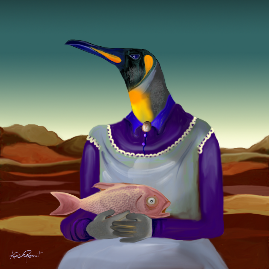 Penguin with fish by altergromit on deviantart for Penguin and fish