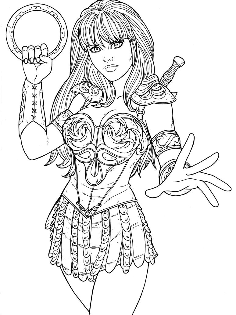 Warrior Princess Coloring Pages : Xena by jamiefayx on deviantart