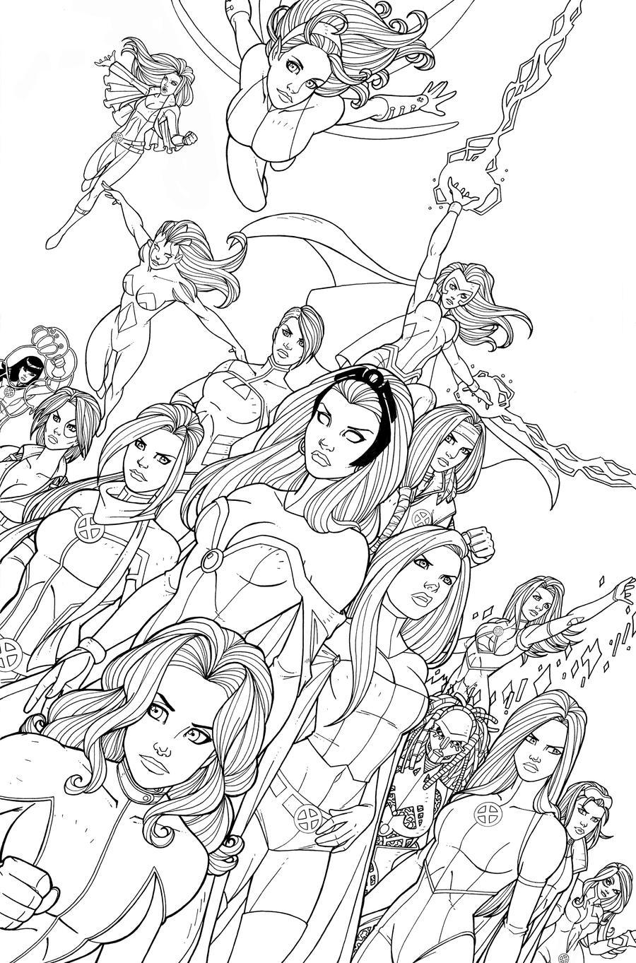 Line Art Comic : X women line art by jamiefayx on deviantart