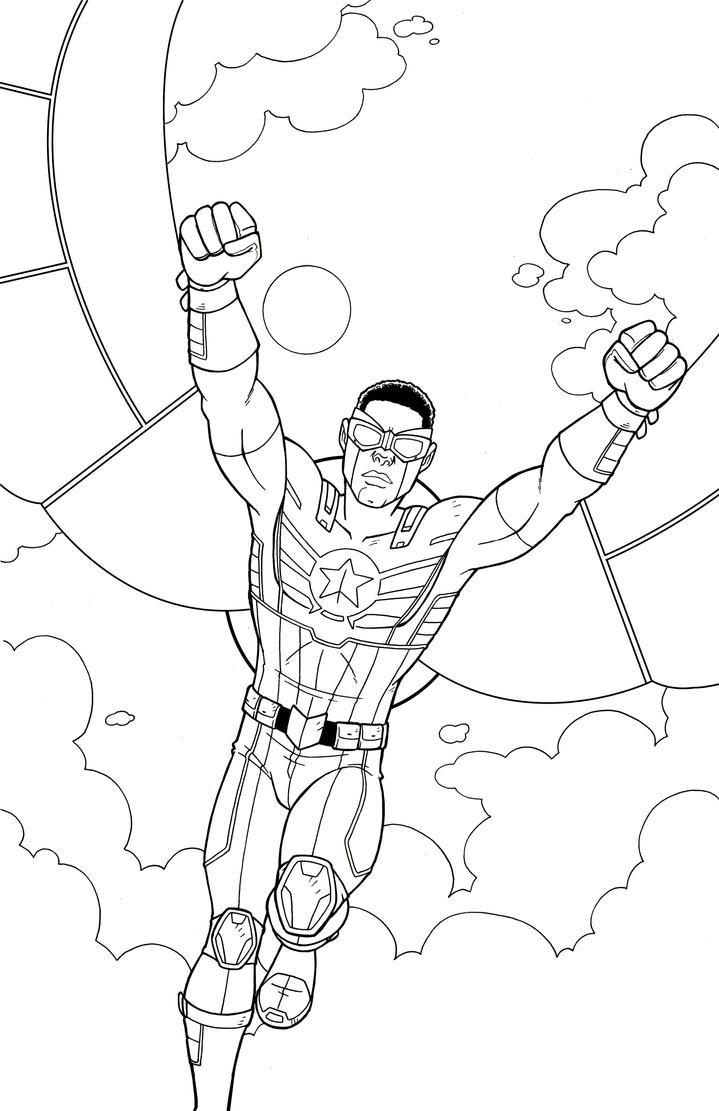 Line Art America : Captain america falcon by jamiefayx on deviantart