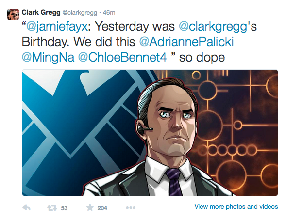 Phil Coulson Tweets My Art......AGAIN!!!! by JamieFayX