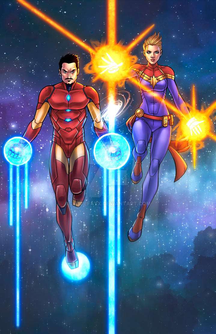 Iron Man/Captain Marvel - Traditional Colors by JamieFayX