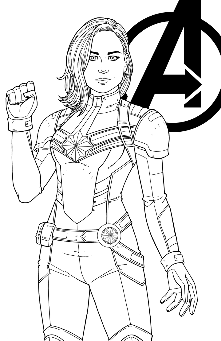 Line Art Marvel : Captain marvel brie larson by jamiefayx on deviantart