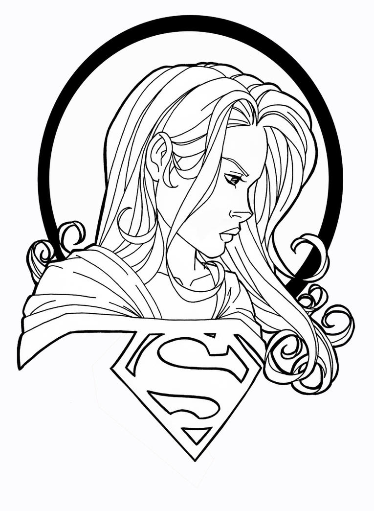 Supergirl by jamiefayx on deviantart for Supergirl coloring page
