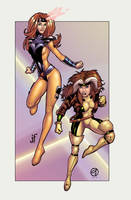 jean grey and rogue collab by JamieFayX