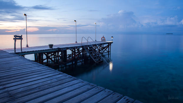 Pier. Ocean calm. Maldives.