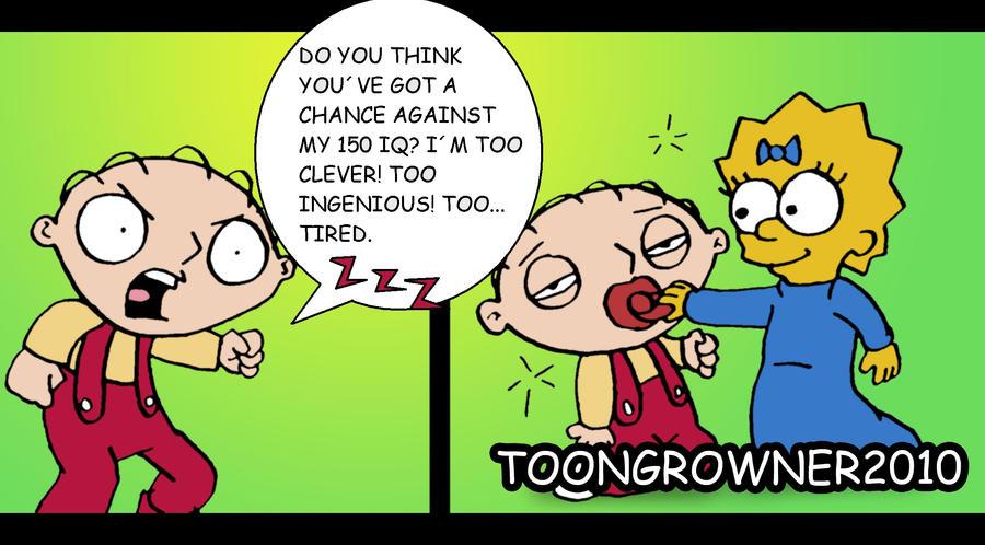 Stewie vs Maggie by toongrowner