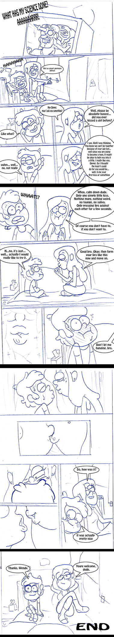 Sketch Comic Dippers first Kiss by toongrowner