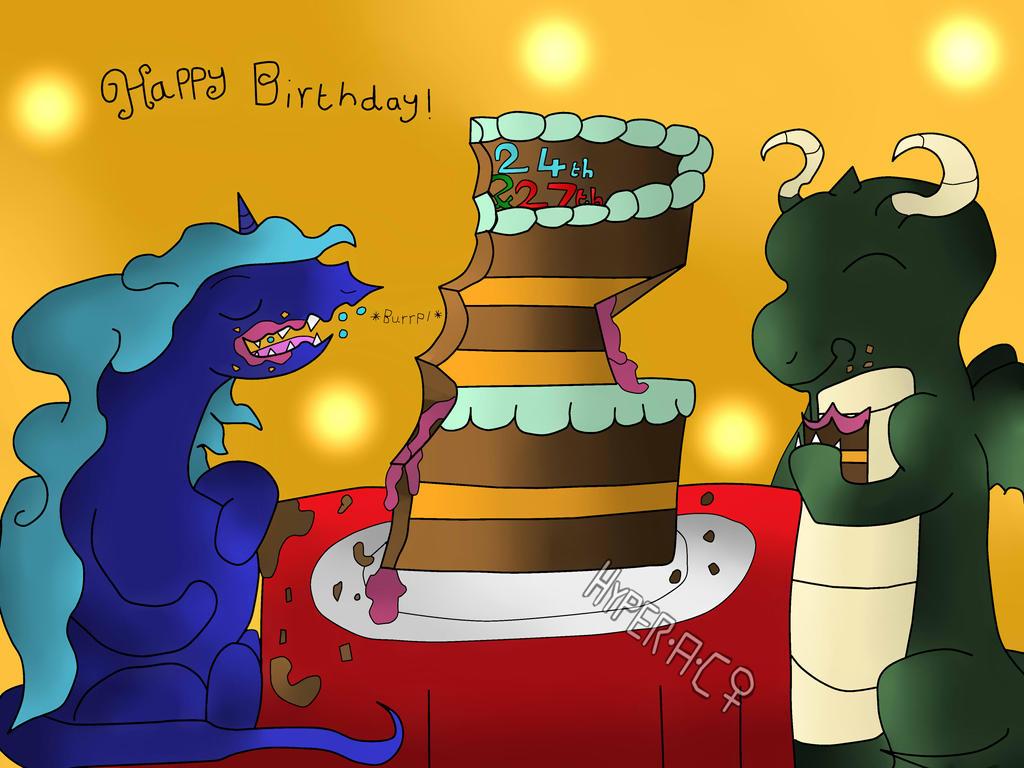 Happy Birthday Zach the unigon and Scott the shiny by HyperactiveChaosgirl