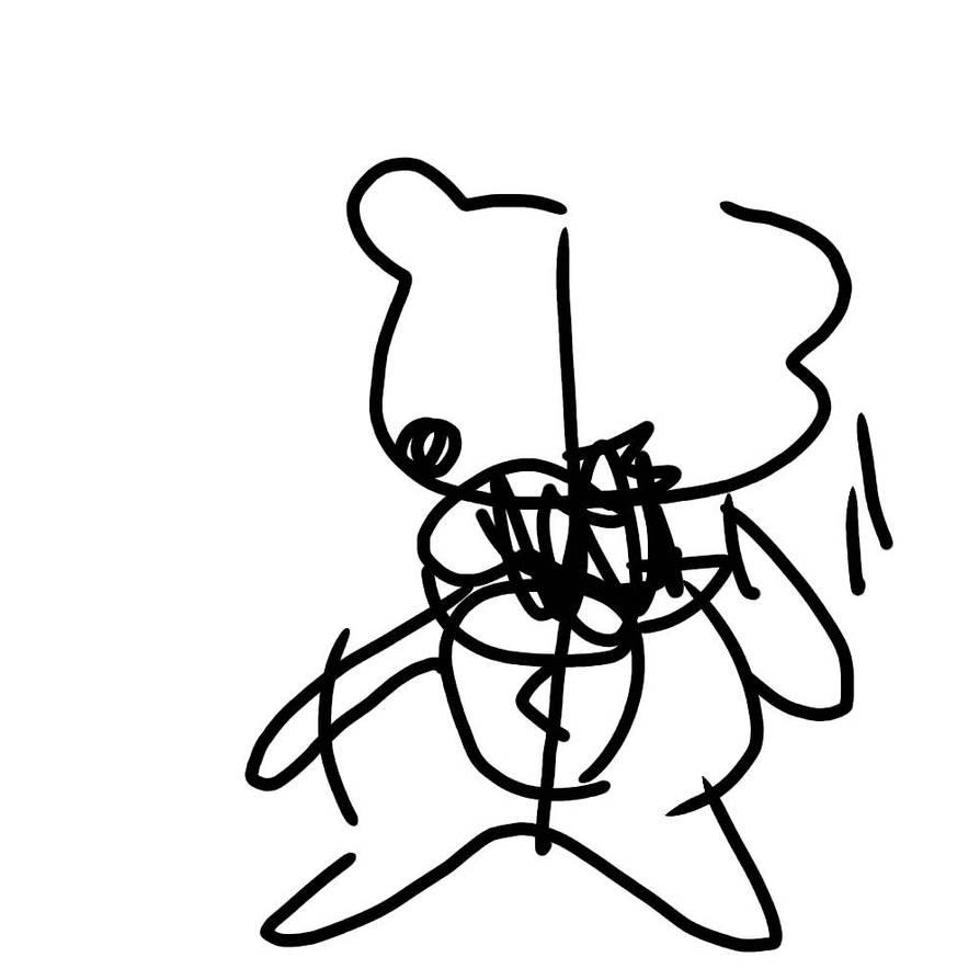Monokuma but only I drew it with my eyes closed by BurntToastAnimates