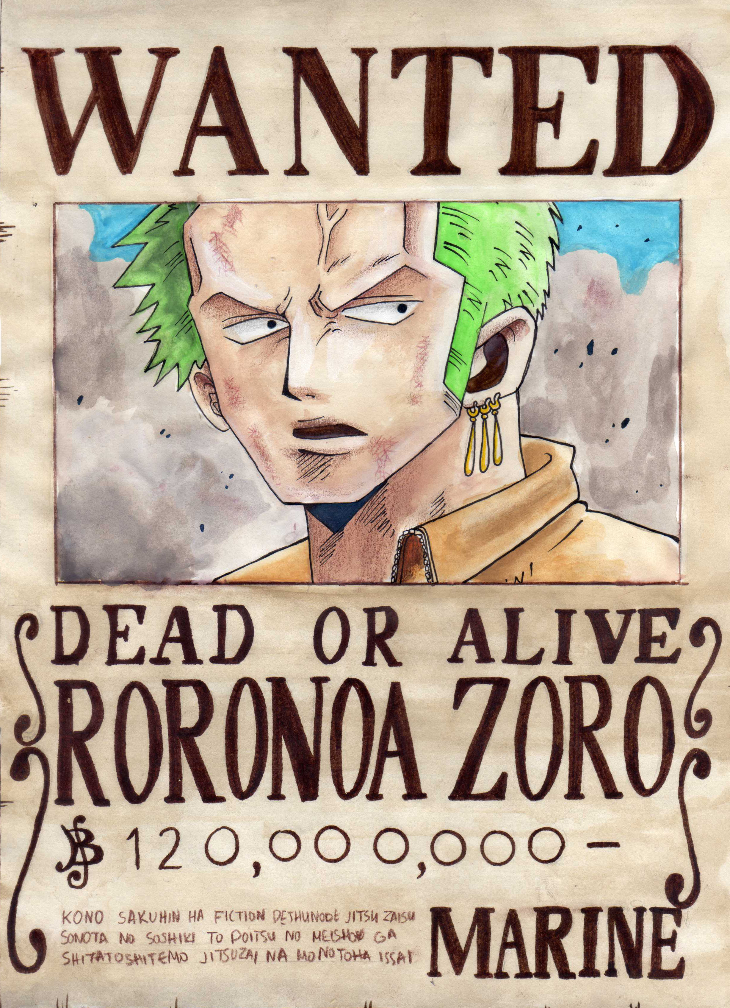 the gallery for gt one piece wanted poster zoro