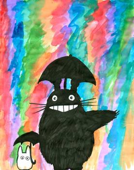 Totoro enjoys the rain