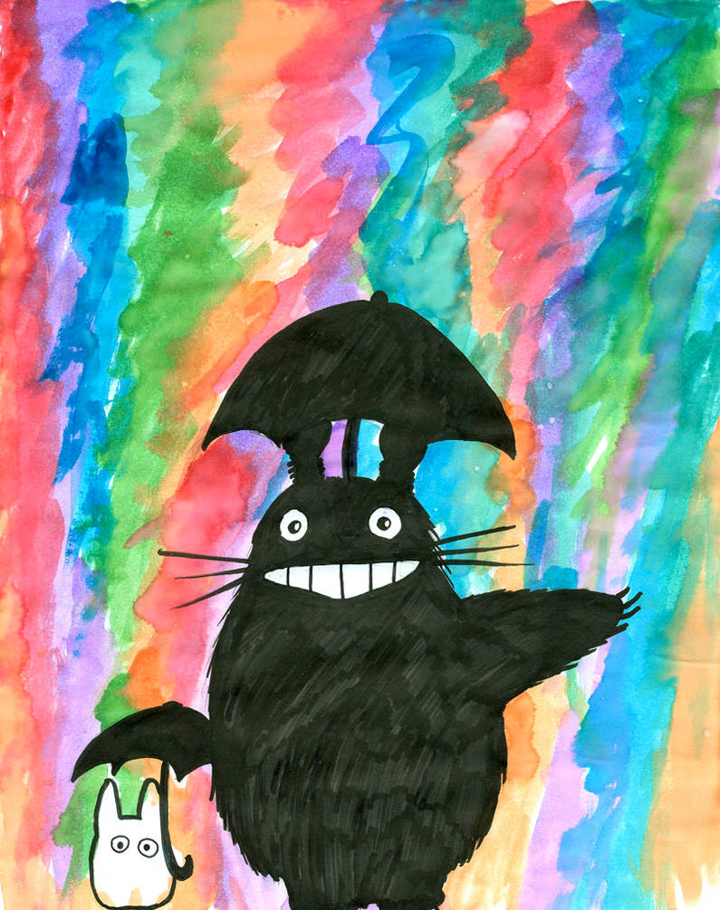 Totoro enjoys the rain by Starath