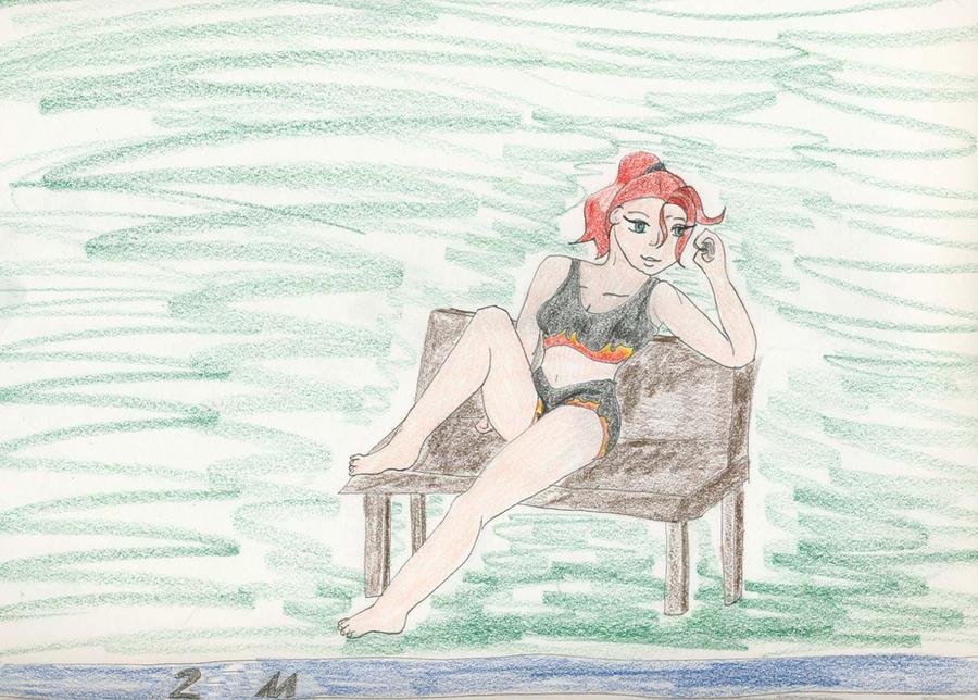 At the Pool by Midorii-kiri