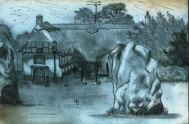 One Evening in Avebury (freehand drawing)