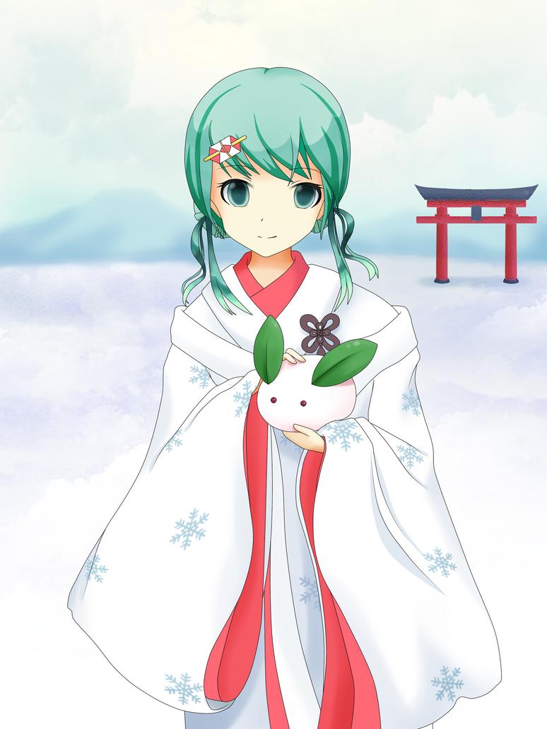 Snow Miku and Snow Rabbit by SpecialPikachu