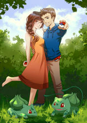 Pokemon trainer couple by Wolka-Art