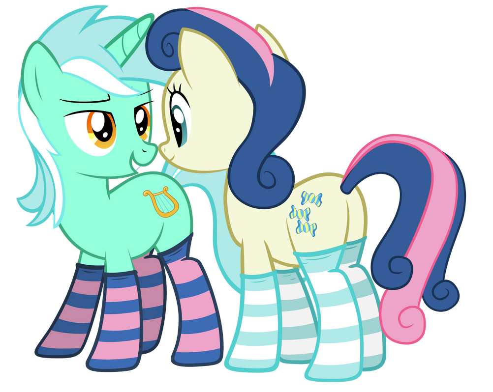 Lyra and Bon bon in sockies