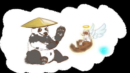 Daily Draw Feb.2017 - 6+7 - Panda and his Master by Wingcapman