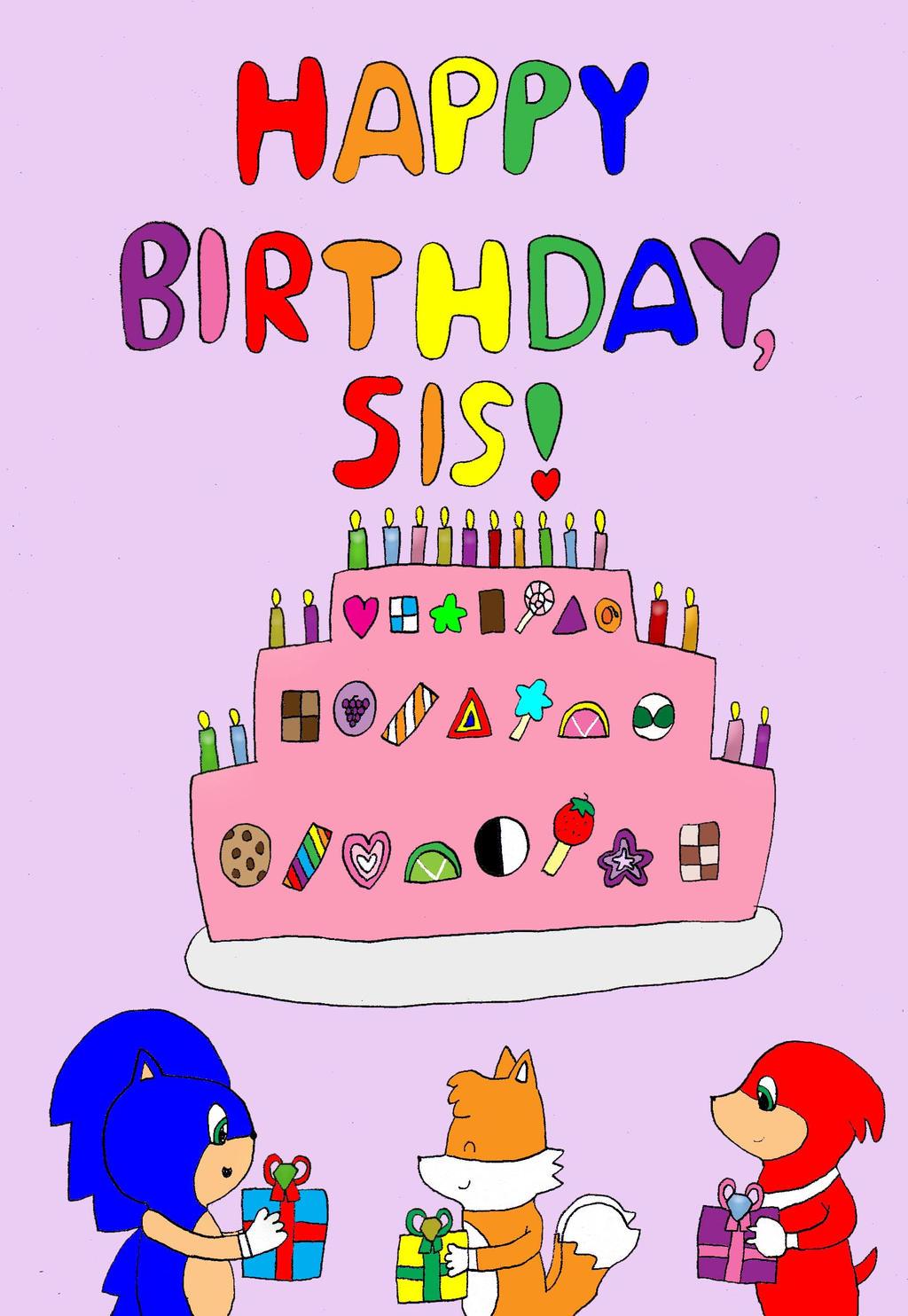 Happy Birthday Sis Cake Wallpaper