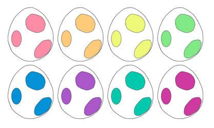 Neon Yoshi Eggs 2pt(Closed) by katamariluv