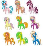Little Ponies 10pt(Closed) by katamariluv