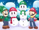 Mario and luigi Build snowman