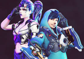 Overwatch   Widowmaker and Tracer by karinscr