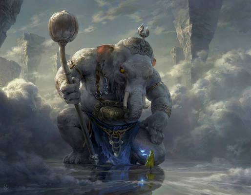 Puxian and the white elephant