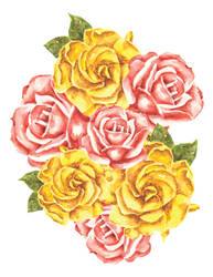 Rose and Gardenia Watercolor Collage by erika-lancaster85