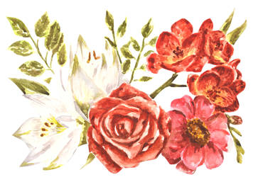 Watercolor Floral Collage by erika-lancaster85