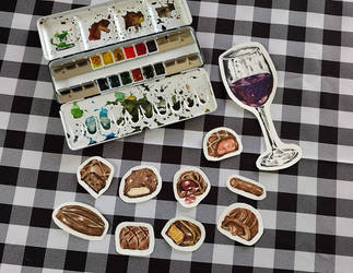 Watercolor Chocolates and Glass of Wine by erika-lancaster85