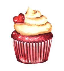 Watercolor Valentine's Day Red Velvet Cupcake by erika-lancaster85