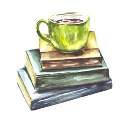 Watercolor Books and Tea by erika-lancaster85