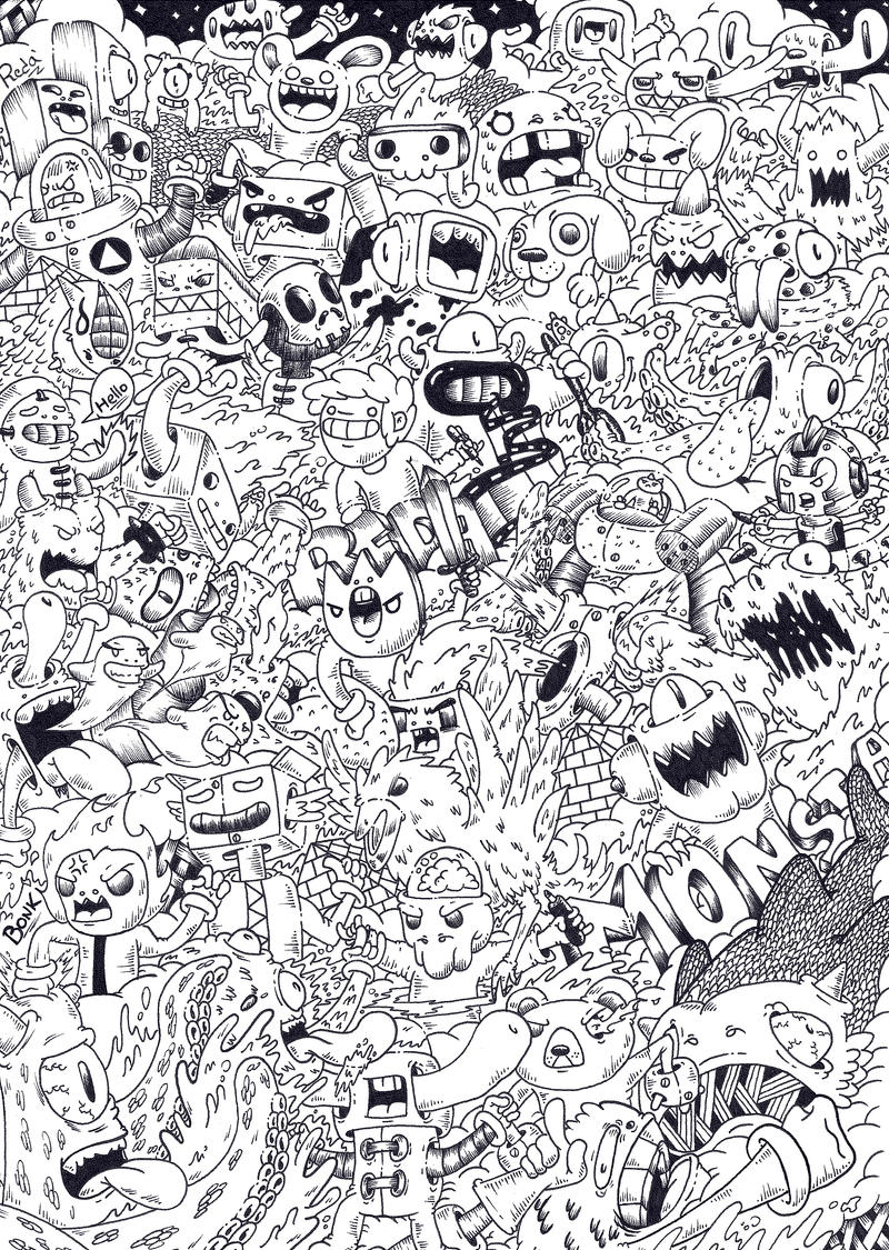 Doodle Invasion Coloring Book Free Monsta By Redstar On Deviantart