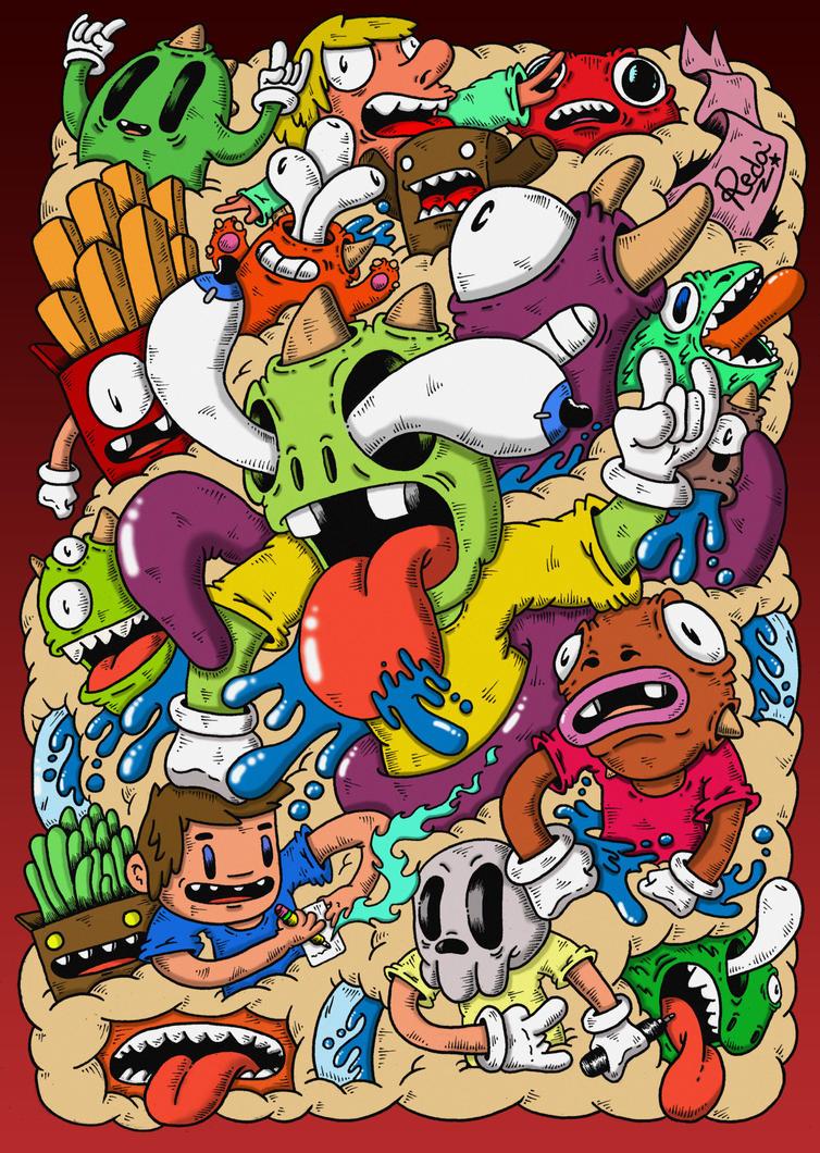 cartoon Monster In Love Wallpaper : Doodle: Mindblown (colored) by RedStar94 on DeviantArt