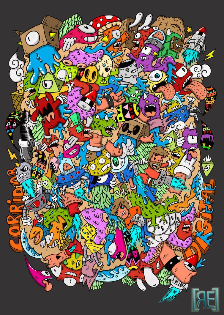 Doodle: Corridor Digital T-shirt design by RedStar94