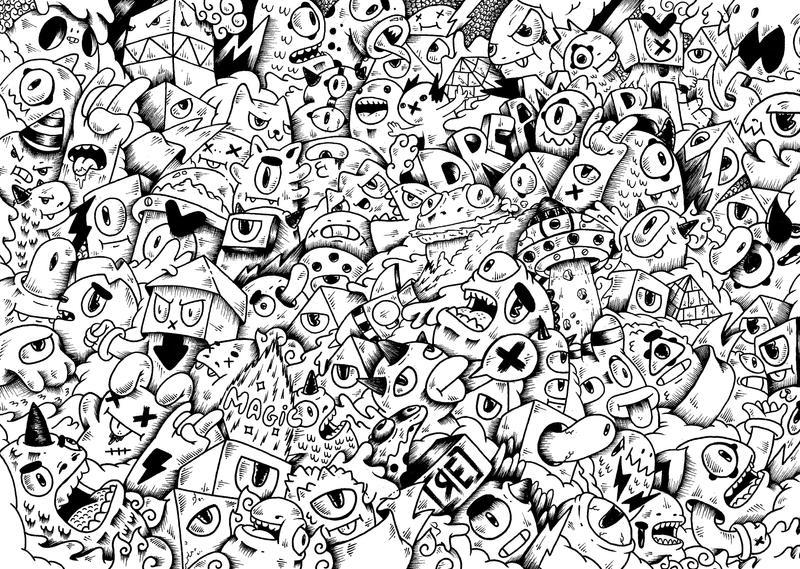 Monster Invasion Doodle Illustration By RedStar94 On
