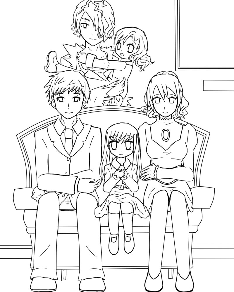 A big family portrait Line Art by GredellElle on DeviantArt