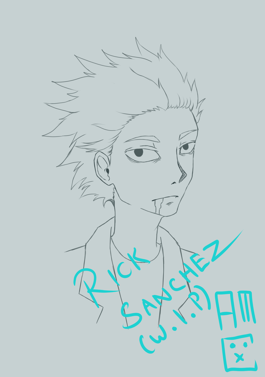 Rick Sanchez (Work in Progrss) by blackrabbitartworks