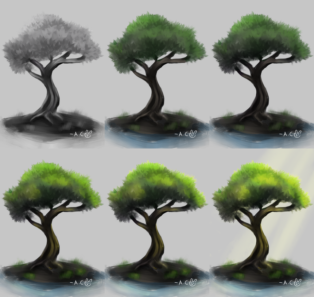 Tree Study Process by blackrabbitartworks
