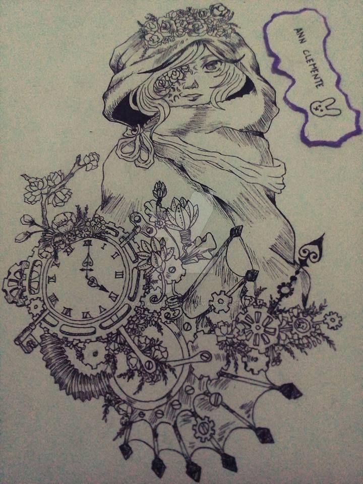 Clockworks and Flowers by blackrabbitartworks