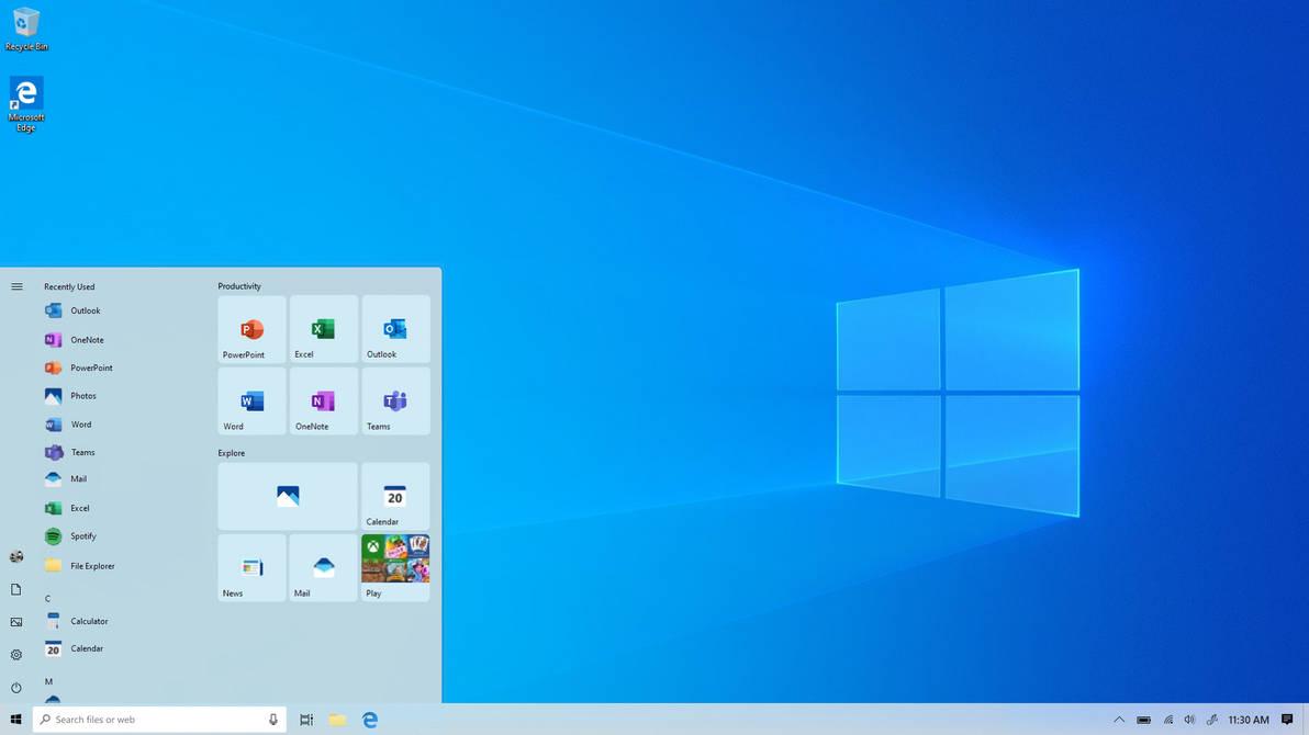 Windows 10 20H1 - Desktop - Start - Light Theme by